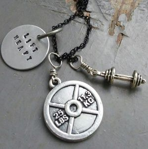Jewelry - Lift Heavy - dumbbell weight plate charm necklace